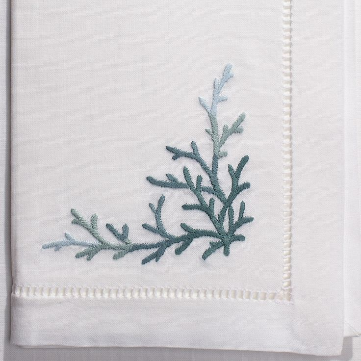 Coral Teal<br>Napkin - White Cotton