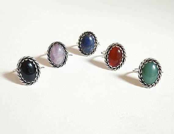 Vintage gemstone sterling silver ring. Onyx, amethyst, lapis lazuli,carnelian , aventurine, oxidized ring,boho, δαχτυλίδι