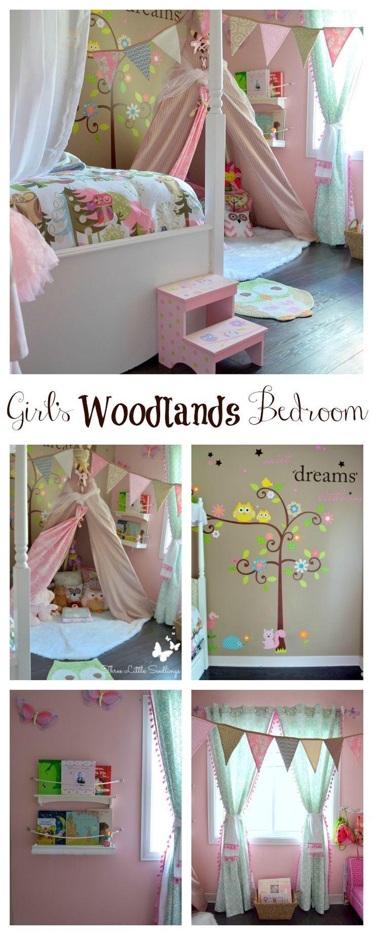 Girl's Woodlands Bedroom - So many great inexpensive DIYs - You'll love remodeling your little girl's bedroom - http://www.threelittleseedlings.com/girls-woodland-bedroom