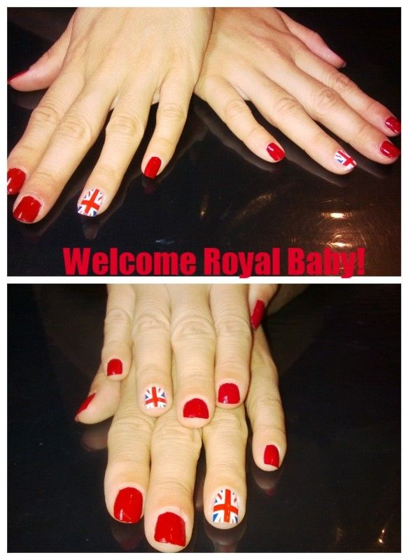 Royal Baby Nail Art - To celebrate the George's Birth! Red polish and a nail sticker.
