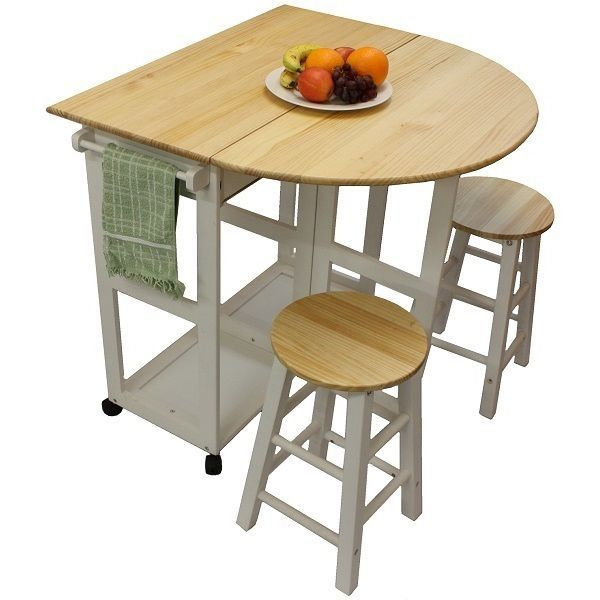 White Pine Wood Breakfast Bar Folding Kitchen Table And Stool Set New