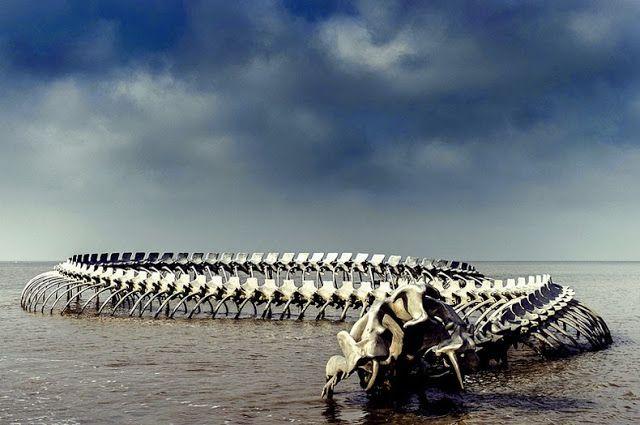 Terminado en el 2012, la Serpent d'océan es un gigante esqueleto de serpiente marina de aluminio realizado por el artista Huang Yong Ping, situado a la orilla del río Loira, donde desemboca en el Golfo de Vizcaya a las afueras de Nantes, Francia. Con casi 130 metros de longitud el esqueleto curvándose refleja las curvas del cercano puente de Saint-Nazaire y fue creado como un trabajo permanente para la final de la exposición de arte contemporáneo Estuaire en 2012. Via Nantes Tourisme:
