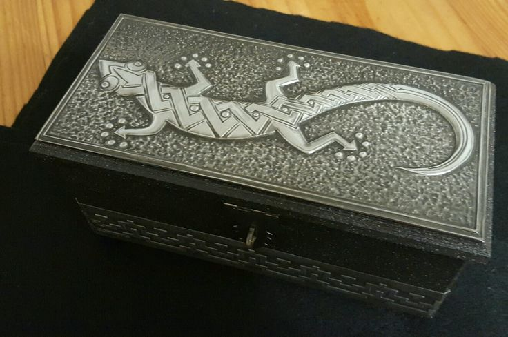 Trinket Box with Gecko and Africa design for a finished look.