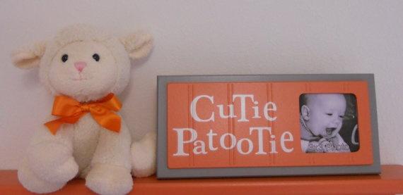 Gray Orange Nursery Art Photo Frame Sign Orange by NelsonsGifts, $16.95