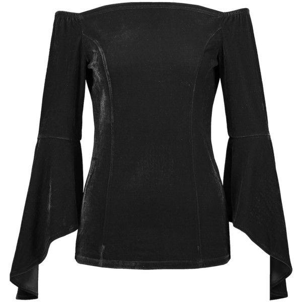 Velvet Flare Sleeve Top ($11) ❤ liked on Polyvore featuring tops, t-shirts, bell sleeve t shirt, velvet bell sleeve top, velvet top, velvet tees and velvet t shirt