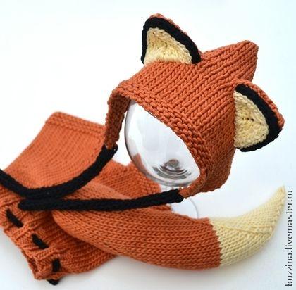 Лисенок шапочка для фотосессии новорожденного + штанишки на подгузник -