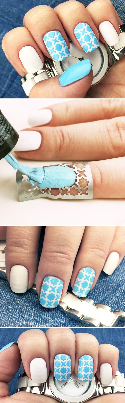 """Nail Stencils design """"Arabia"""" by Unail $5 #nails #nailart #naildesign #easynail #nailstencil #aquamarinecolor #nailpattern"""