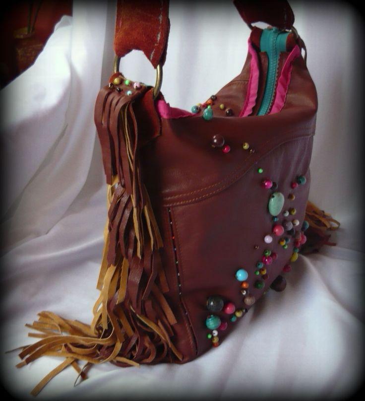 Handmade by Judy Majoros - Fringe leather beaded hobo bag. Shoulder bag.Recycled bag