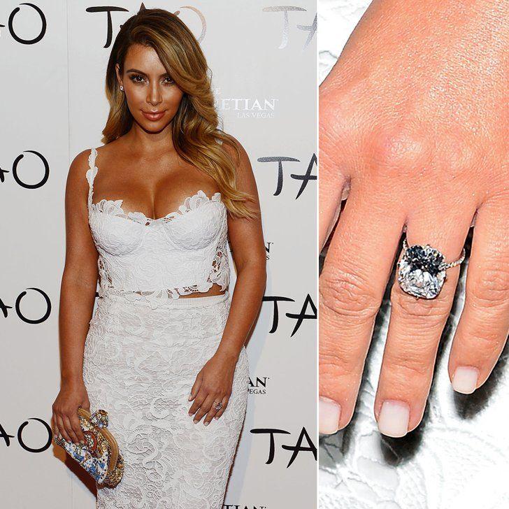 Pin for Later: Die schönsten Eheringe der Stars Kim Kardashian Kanye West scheute keinen Cent und ehelichte seine Kim mit einem 15-karätigen Diamantring.