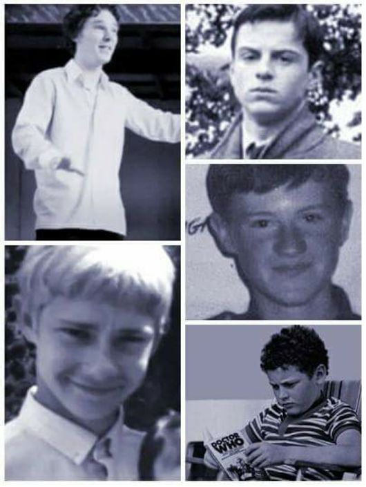 Sherlock cast when they were kids The best is Young Moffat with a Doctor Who magazine.