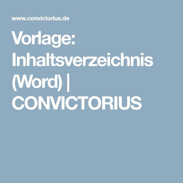 Vorlage: Inhaltsverzeichnis (Word)   CONVICTORIUS