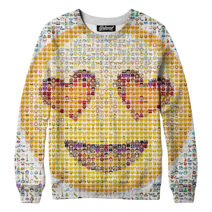 """belovedwear® presents the #Emoji Sweatshirt. This """"all over"""" print crewneck sweatshirt is made using a special sublimation technique to provide a vivid graphic image throughout the shirt. • 100% Polye"""