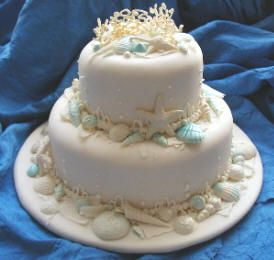 http://www.cakesforwedding.net/2010/04/seashell-wedding-cake-blue-trim.html