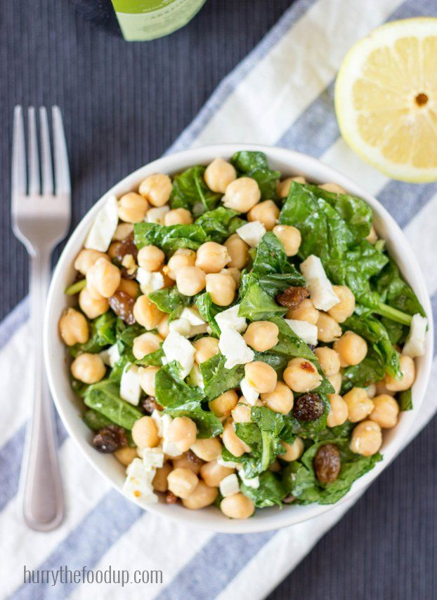 Chickpea Spinach Salad, ready in 7 minutes, high in protein and fiber. Perfect for a quick lunch!   hurrythefoodup.com