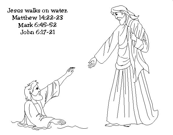 Disciples Coloring Page Walks Water: Jesus And Peter Walking On Water Coloring Coloring Pages