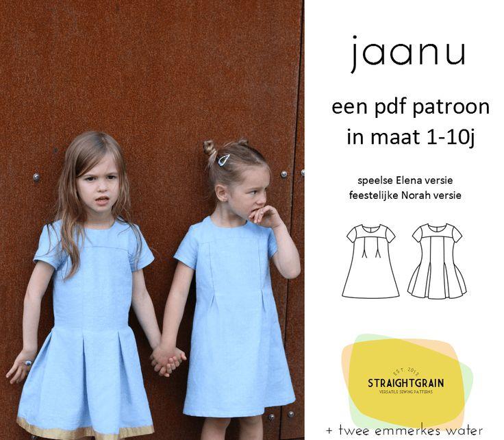 Betaal je liefst via overschrijving? Stuur even een mailtje naar straightgrainblog@gmail.com. :-)  Jaanu is een jurk met een kort bovenstuk, lange stolpplooien in de rok, en een blinde rits in t…