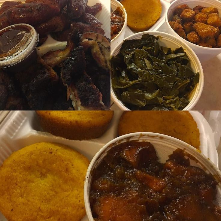 Not the best pics but phenomenal soul food at @rosakossoulfoodbbq in bedford #texas - I ordered it when I left work and picked it up on the way home. Its so good. Rib tips hot links spicy collard greens (droolworthy) mac and cheese and these candied yams that are amazing. I recommend go early or call ahead. The wait was 45 min to an hour so I am glad I called it in.