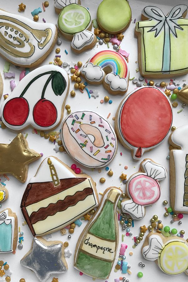 Hand Illustrated Cookies Darcy Miller Designs Diy Simple Edible