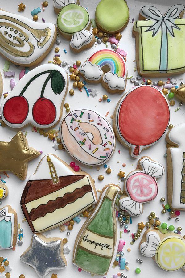 Hand Illustrated Cookies Darcy Miller Designs Diy Simple Edible
