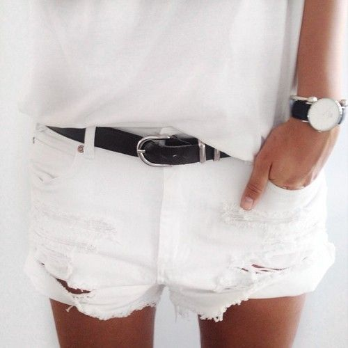 short white denim shorts
