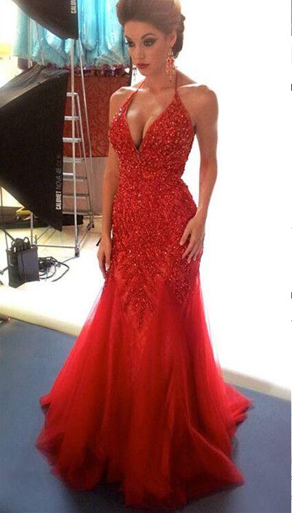 Red Prom Evening Dress With Halter Neckline pst0635