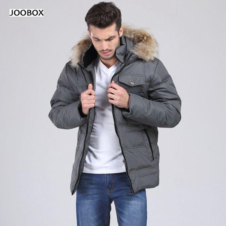 Mens Hooded Duck Down Jacket Big Yards Solid Color Down Jacket Men's Casual Coat 8Xl, 2016 Winter Jacket Male Fur Collar