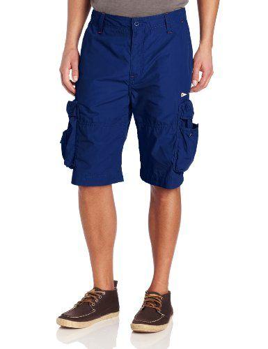 Nautica Men's Sail Cloth Cargo Short, Blue, 34 - Cotton poplin cargo shorts Product Features  2 front slant pockets Double back flap pockets
