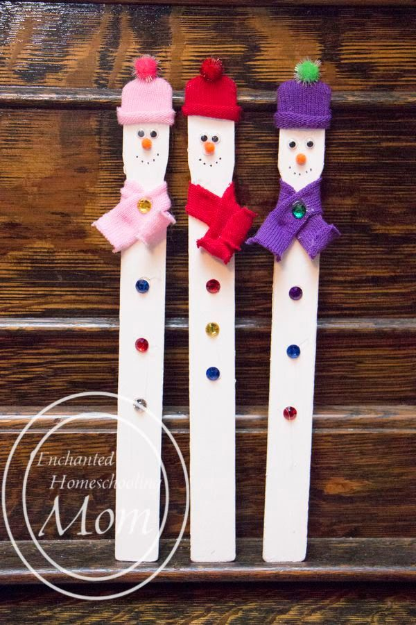 Paint Stirrer Snowmen | Enchanted Homeschooling Mom | Enchanted Homeschooling Mom