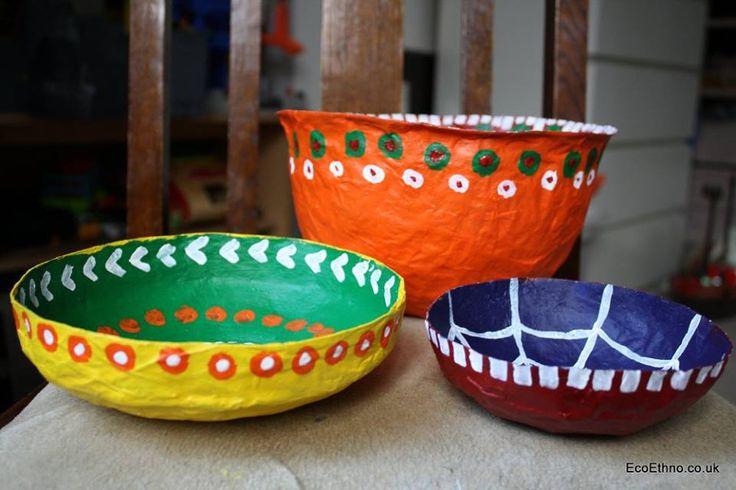 bowls from paper #ecoworkshop #ecogift #workshopwithchildren
