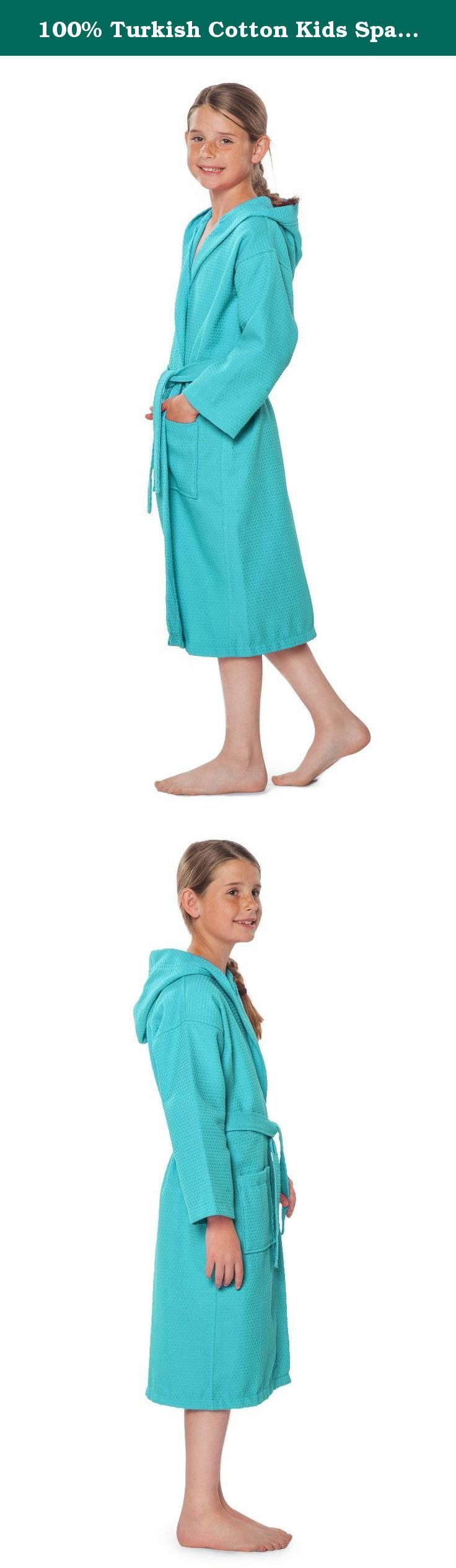 """100% Turkish Cotton Kids Spa Party, Flower Girl Hooded Waffle Robe (Large, Turquoise ). Model is 4'8"""", 70lbs and wears L. This 100% Turkish cotton hooded spa robe is designed to provide the utmost in cozy comfort and style for the kids. The light and soft waffle spa robe adds a light layer over nightwear. The robes make for a quality gift for your spa party or for your young bridesmaids! Specifications: This robe features a waffle weave, tailored collar, self-tie wrap belt and two patch..."""