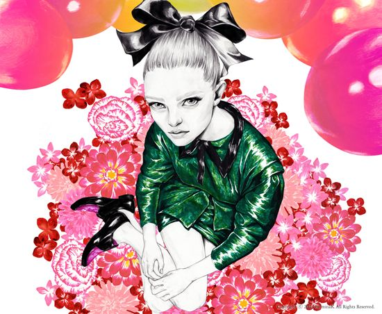 Balloons in Bloom mina k / fashion illustration