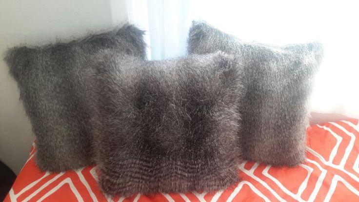 Wolf fur cushions