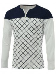 Color Block Spliced Argyle Round Neck Long Sleeve T-Shirt