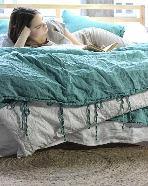 Linen Duvet Cover With Ties Emerald Duvet Cover Linen Etsy Linen Duvet Covers Linen Duvet Duvet Covers