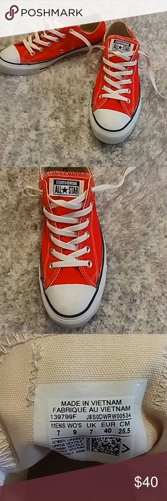 Converse Shoes! Neon orange shoes. Worn once around the house to big. Really pretty color! Converse Shoes