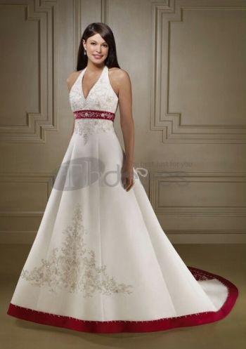 Abiti da Sposa Colorati-Abiti da sposa colorati senza spalline color avorio e rosso