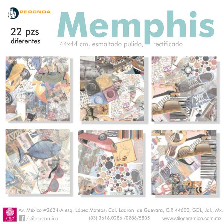 Memphis de la linea Museum de Peronda España, pisos y muros ceramicos esmaltados pulidos. Totalmente acorde al diseño urbaño.