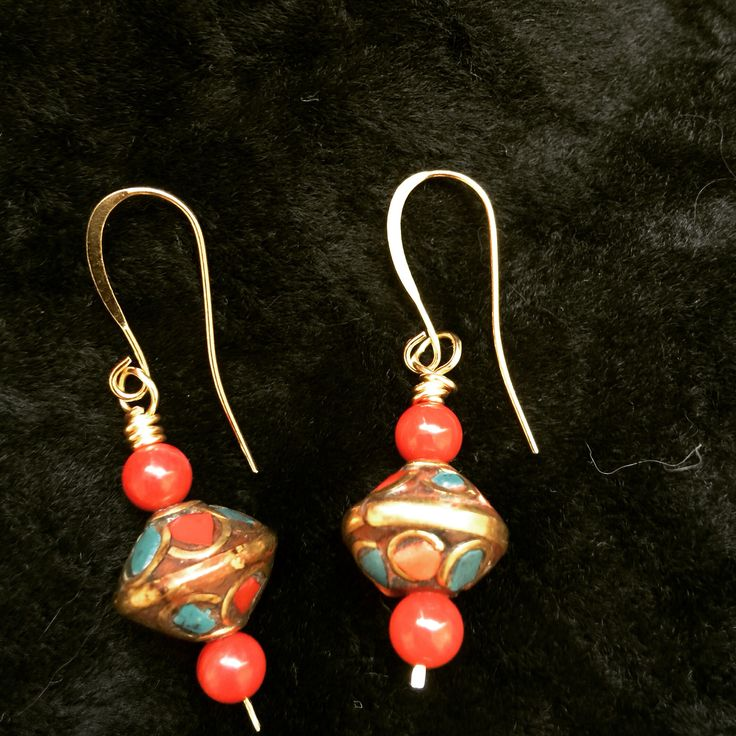 Nepalese earrings. Turquoise and coral.  $20  thirteen13gypsymoons@yahoo.ca