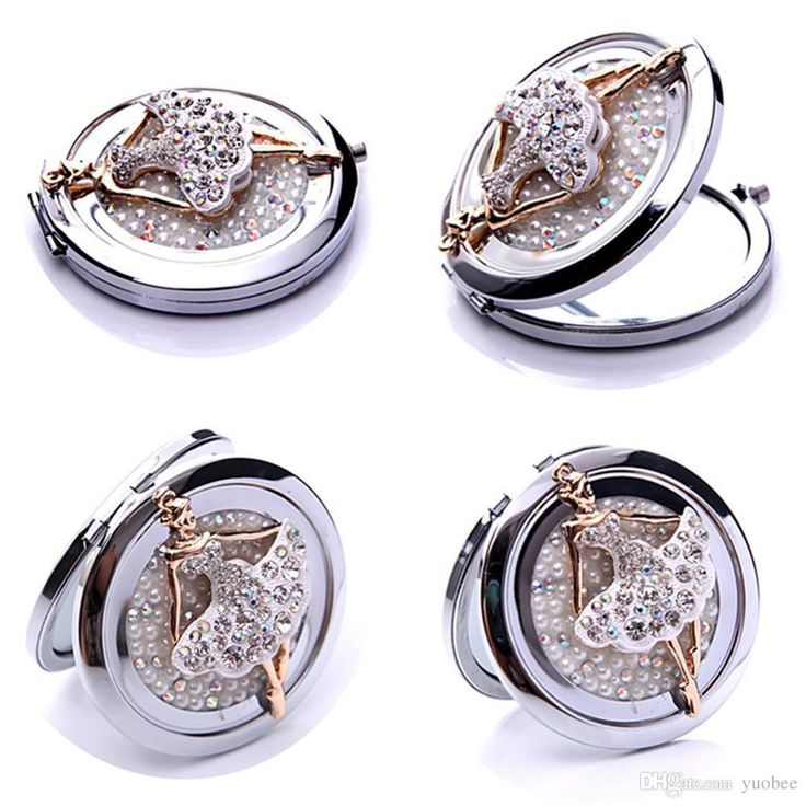 Illuminated #Mirror Wholesale Double Sided Folding Compact Mirrors Lady Gold Plating Crystal Pearl Pocket Women Makeup Cosmetic Portable Compact Mirror Large Magnifying Glass From Yuobee, $3.98| Dhgate.Com