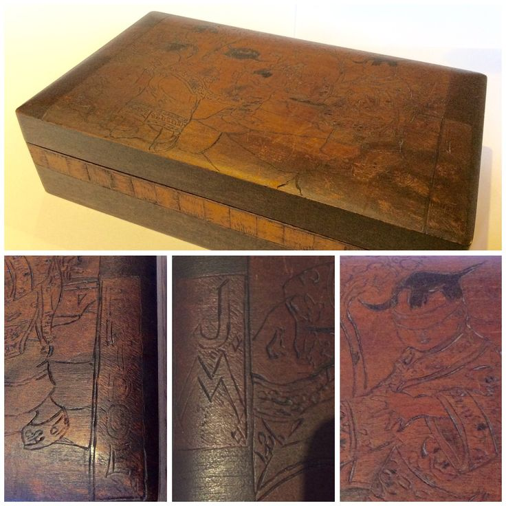 """Beautiful wooden box with engraved (pokerwork?) illustrating Japanese children playing Blind-man-buff. """"J.M."""" is ingraved on the left side and """"Bridge"""" in the right side. On the underside is carved """"O.I.Hurt 1926"""""""