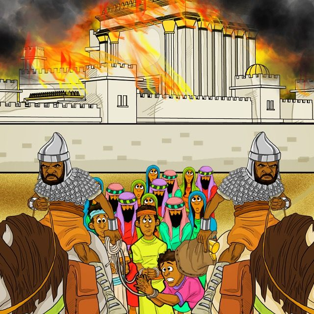 "The Israelites are taken into captivity.... ""In the third year of the reign of Jehoiakim (king of Judah), Nebuchadnezzar (king of Babylon) came to Jerusalem and besieged it. And Yahweh gave Jehoiakim into his hand, with some of the vessels of the house of God. And he brought them to the land of Shinar, to the house of his god, and placed the vessels in the treasury..."" (Dan 1: 1-2)"