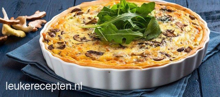 Makkelijk herfstrecept voor quiche gevuld met champignons, paddestoelen en kaas
