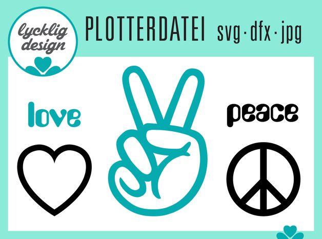 Peace Zeichen Herz - svg dxf jpg # Plotterdatei von LyckligDesign