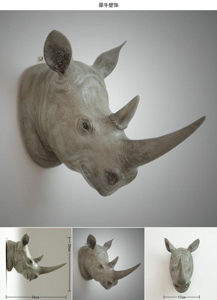 Гобелены росписи носорог глава подвеска рога оленя висит ретро европейские творческие животных настенные украшения купить на AliExpress