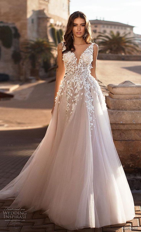 naviblue 2019 bridal sleeveless v neck heavily embellished bodice tulle skirt ro…