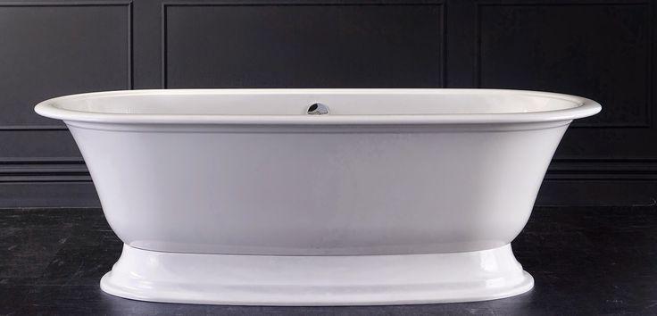 Blog da Revestir.com: Lindas! Em sua Coleção 2015, a Doka Bath Works  apresenta  a Banheira Elwick. Com design oval clássico com borda e angulação para encosto em ambos os lados, a banheira Elwick é perfeita para duas pessoas.  Produzida em Quarrycast, material composto por uma rara rocha vulcânica, patenteado pela marca, a banheira tem 25 anos de garantia e pode ser customizada no lado de fora.