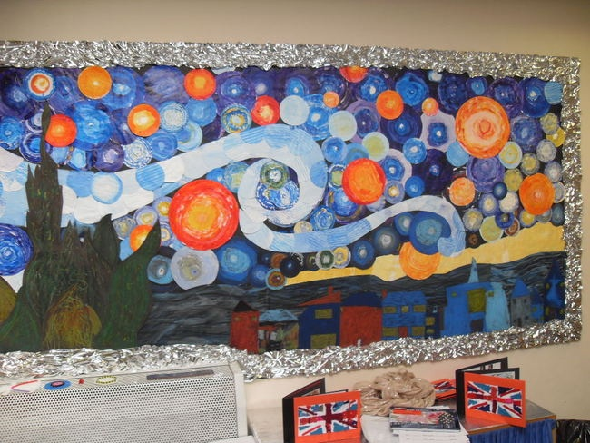 """Van Gogh bulletin board. take off of """"Starry Night""""  Fun idea for an activity each resident could make stars. and the little buildings."""