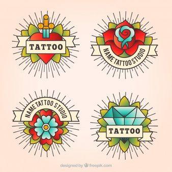 Pack de cuatro logotipos de tatuajes vintage en estilo lineal
