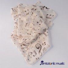 Music Printed Silk Scarf - Almond