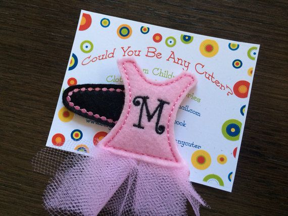 Ballerina Tutu Monogramed Felt Hair Clippie Personalized with an initial SINGLE Hair Clip on Etsy, $5.00